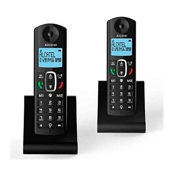 Alcatel F685 negro dúo teléfonos fijos inalámbricos pantalla retroiluminada