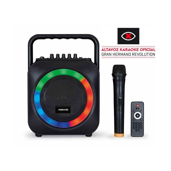 Fonestar box-35led ''gran hermano: revolution'' altavoz portátil karaoke bluetooth usb sd luces led